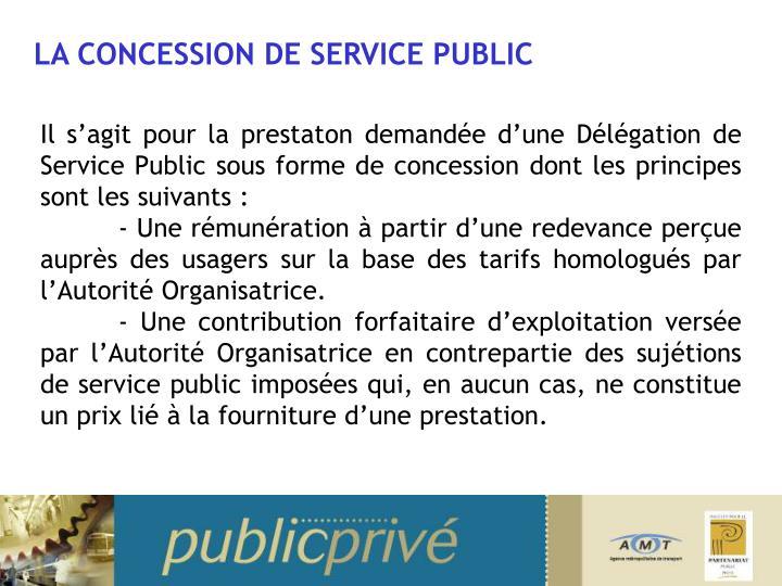 LA CONCESSION DE SERVICE PUBLIC