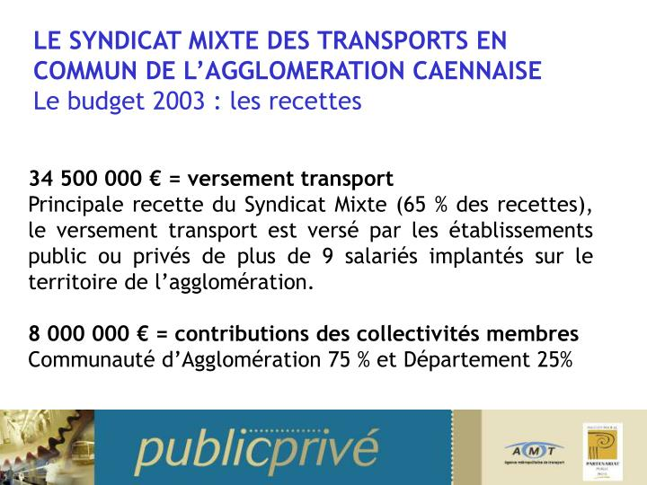 LE SYNDICAT MIXTE DES TRANSPORTS EN COMMUN DE L'AGGLOMERATION CAENNAISE