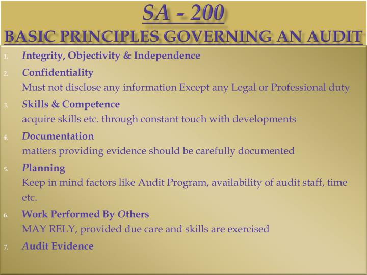 Sa 200 basic principles governing an audit
