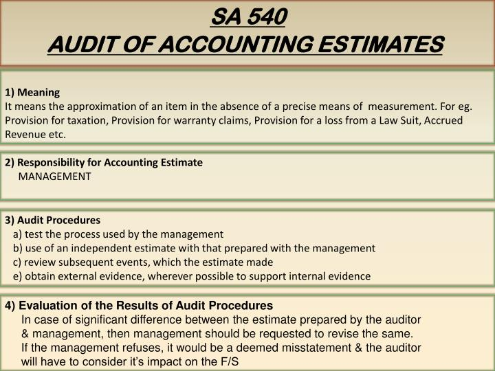 2) Responsibility for Accounting Estimate