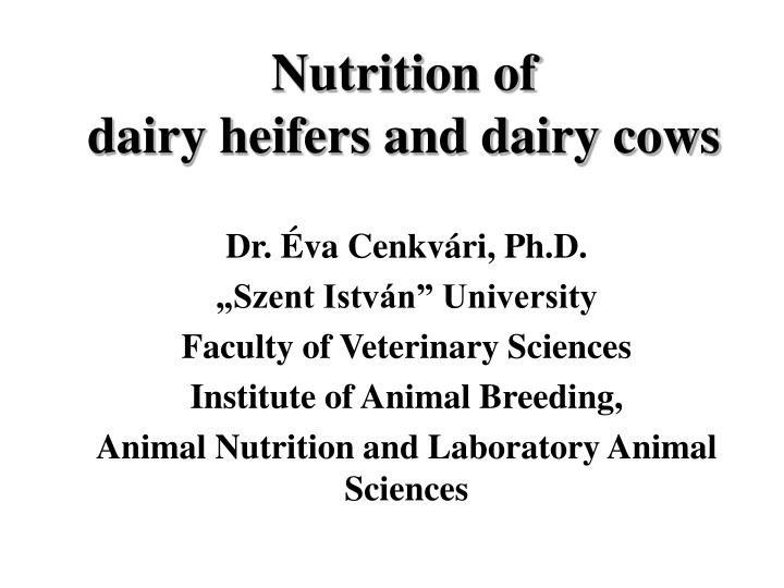 Nutrition of dairy heifers and dairy cows