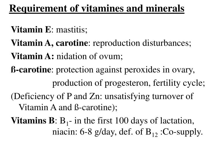 Requirement of vitamines and minerals