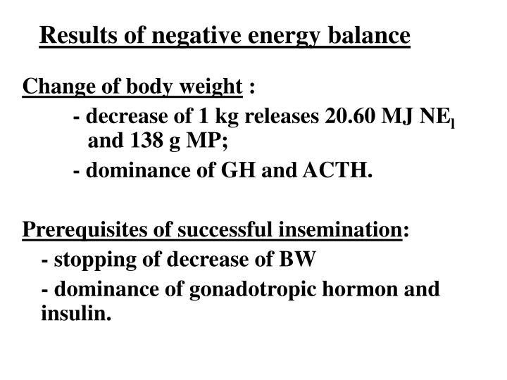 Results of negative energy balance
