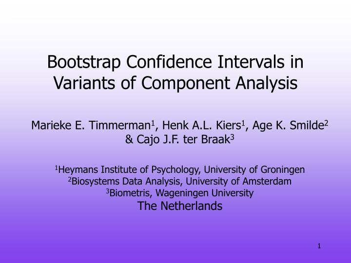 Bootstrap confidence intervals in variants of component analysis