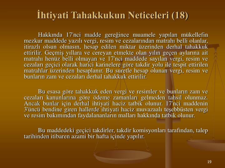İhtiyati Tahakkukun Neticeleri (18)