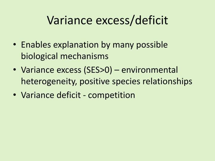 Variance excess/deficit