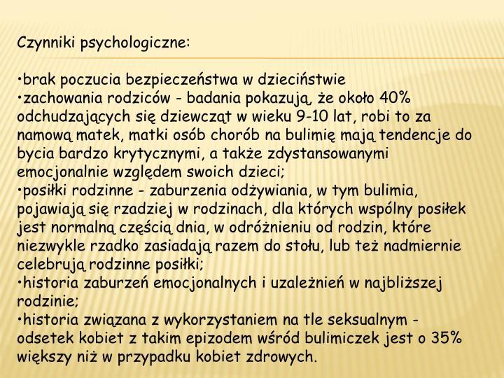 Czynniki psychologiczne: