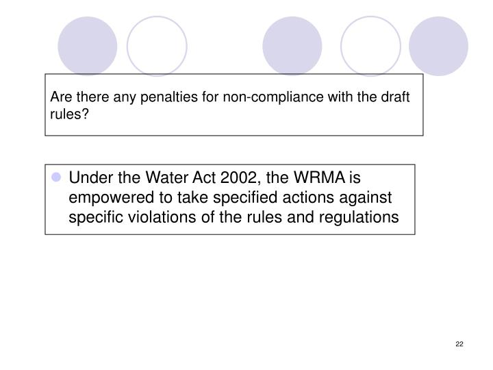 Are there any penalties for non-compliance with the draft rules?