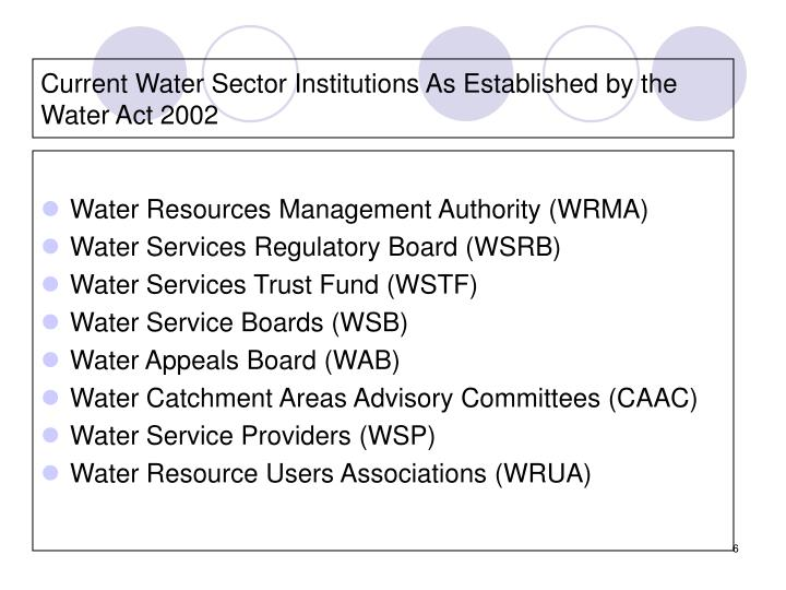 Current Water Sector Institutions As Established by the Water Act 2002