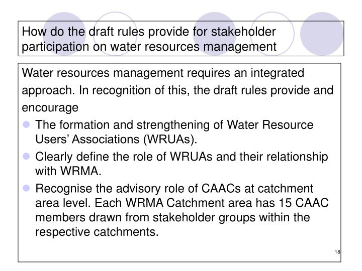 How do the draft rules provide for stakeholder participation on water resources management