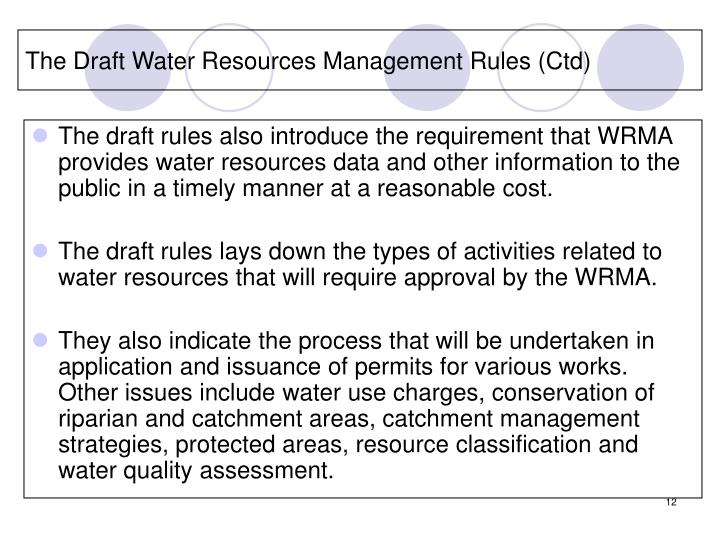 The Draft Water Resources Management Rules (Ctd)