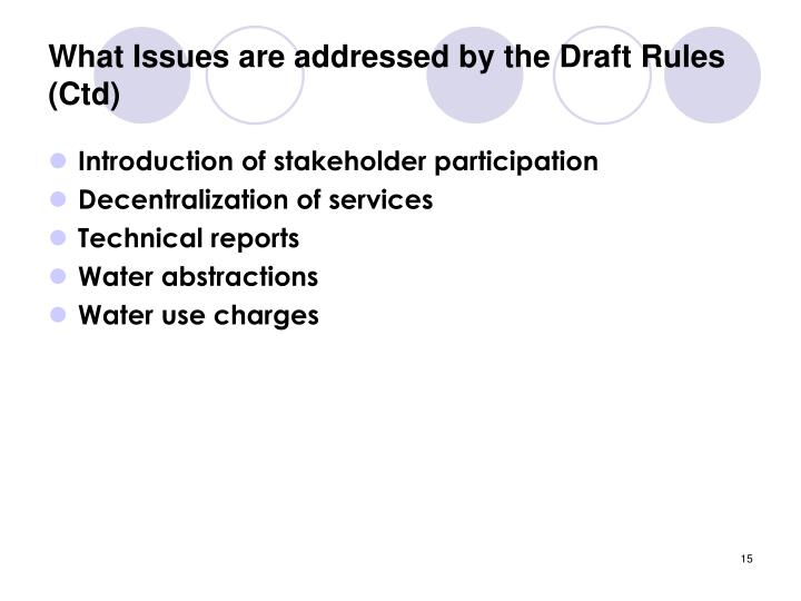 What Issues are addressed by the Draft Rules (Ctd)