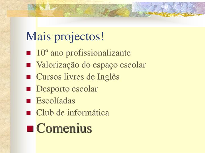 Mais projectos!