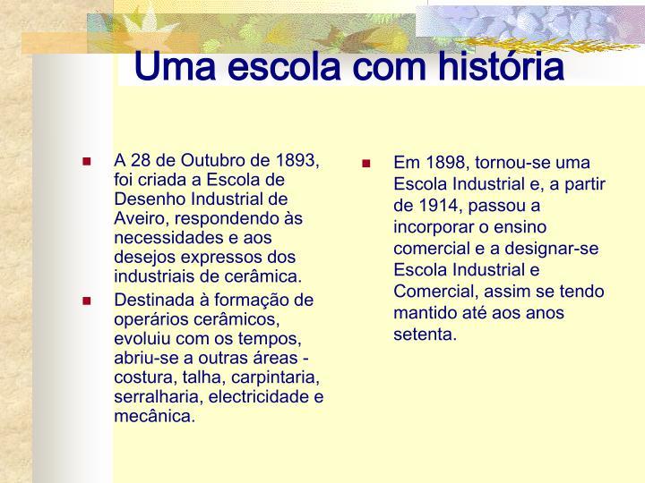 A 28 de Outubro de 1893, foi criada a Escola de Desenho Industrial de Aveiro, respondendo às necessidades e aos desejos expressos dos industriais de cerâmica.