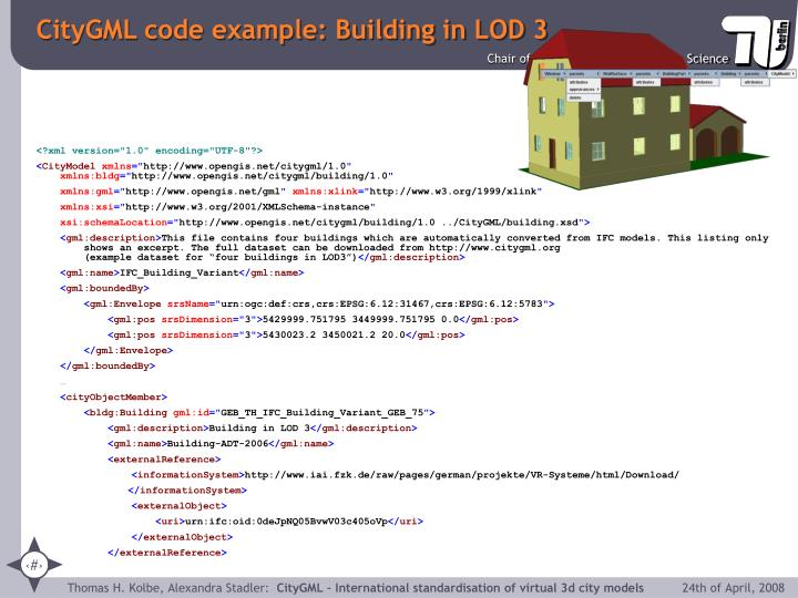 CityGML code example: Building in LOD 3