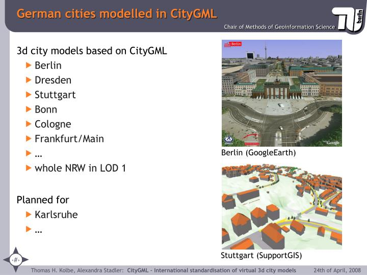 German cities modelled in CityGML