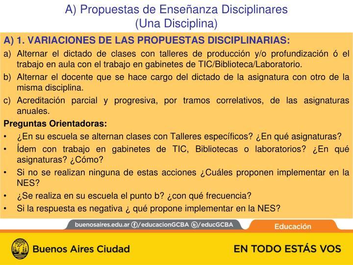 A) 1. VARIACIONES DE LAS PROPUESTAS DISCIPLINARIAS: