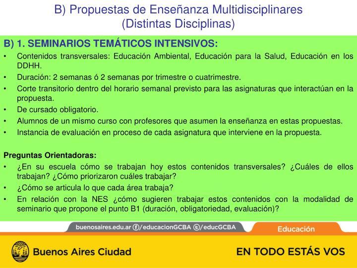 B) 1. SEMINARIOS TEMÁTICOS INTENSIVOS: