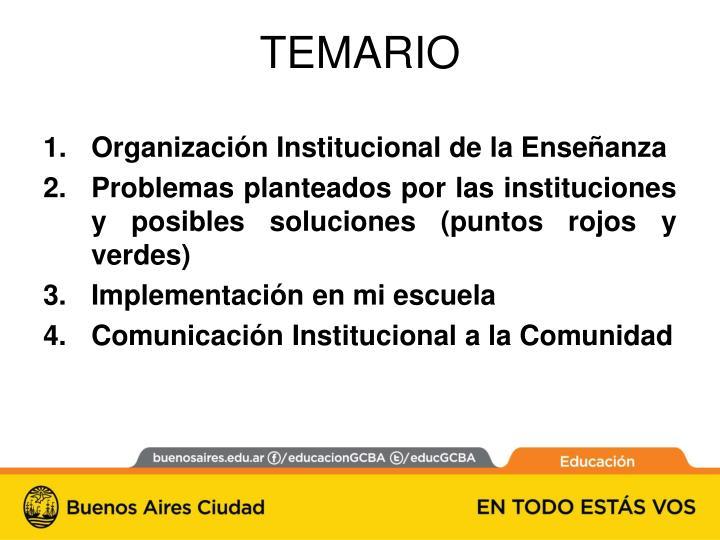 Organización Institucional de la Enseñanza