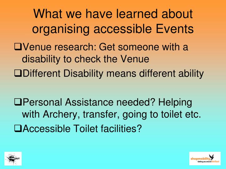 What we have learned about organising accessible Events
