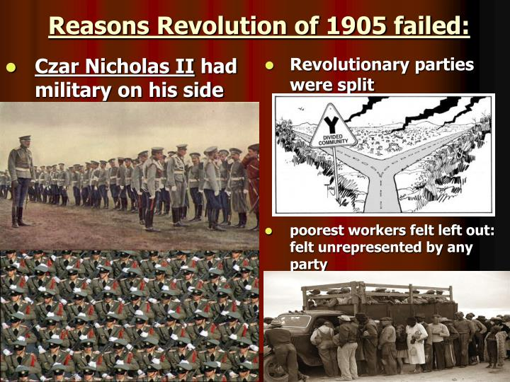Reasons Revolution of 1905 failed: