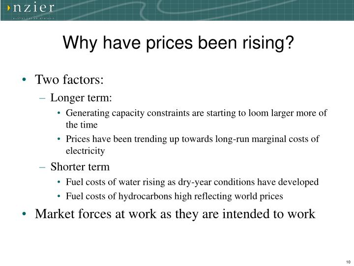 Why have prices been rising?