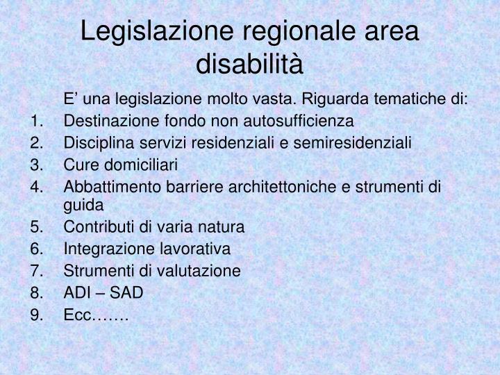 Legislazione regionale area disabilità