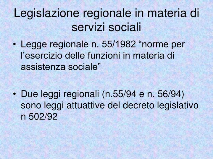 Legislazione regionale in materia di servizi sociali