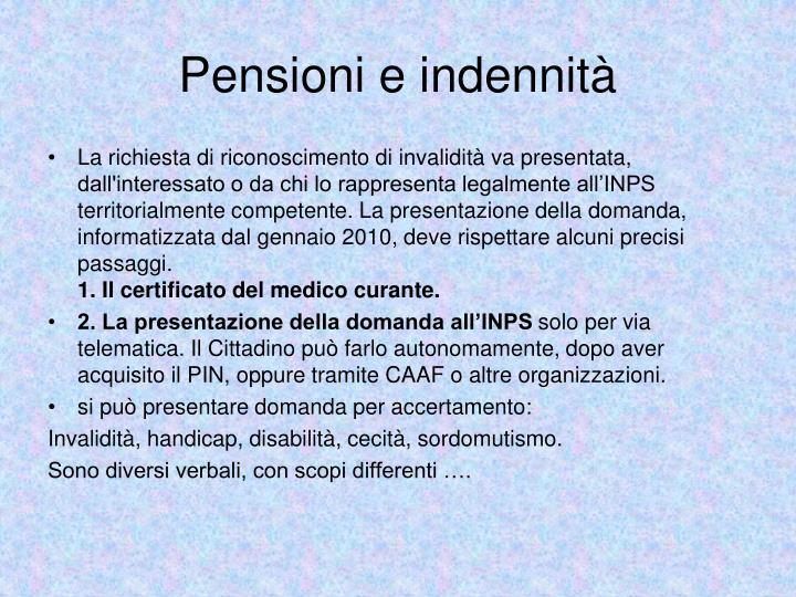 Pensioni e indennità