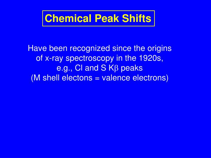 Chemical Peak Shifts