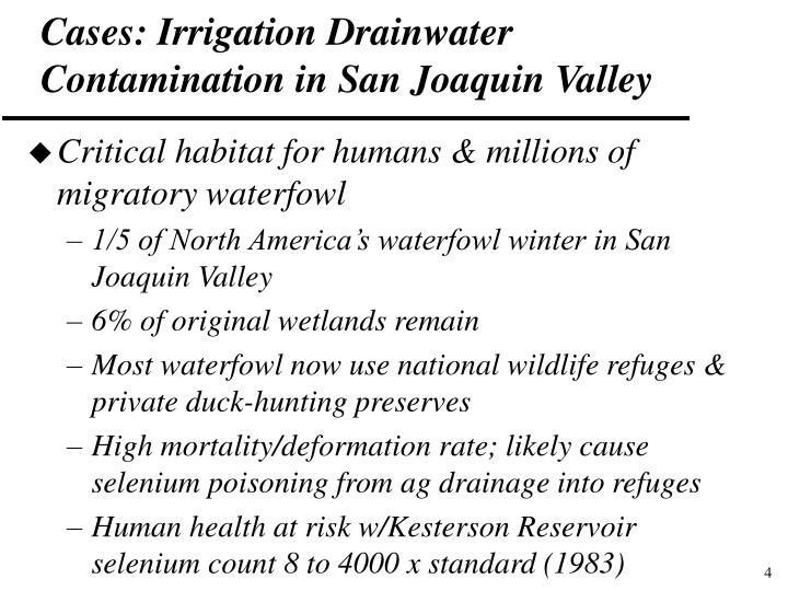 Cases: Irrigation Drainwater Contamination in San Joaquin Valley
