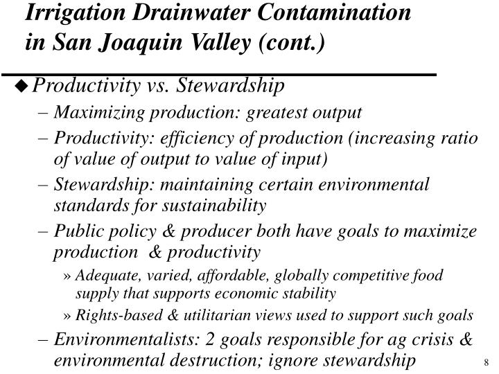 Irrigation Drainwater Contamination in San Joaquin Valley (cont.)