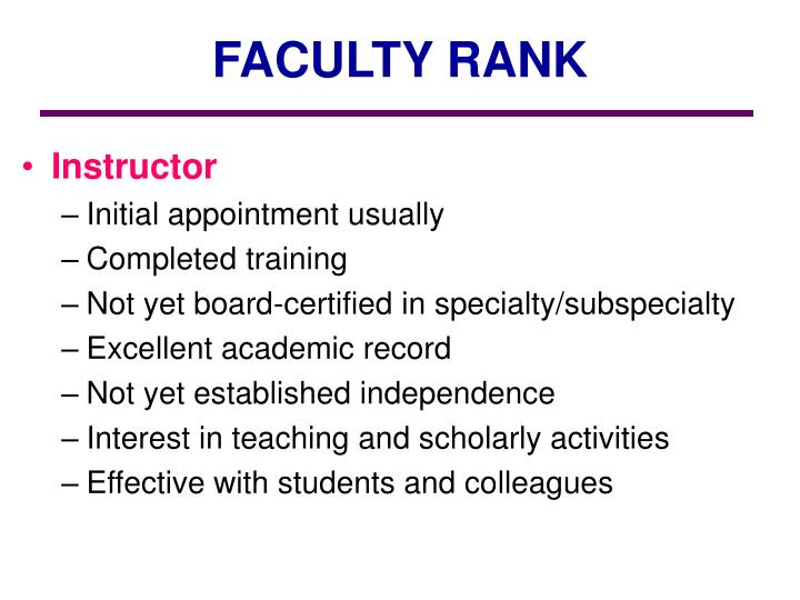 FACULTY RANK