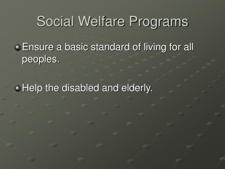 Social Welfare Programs