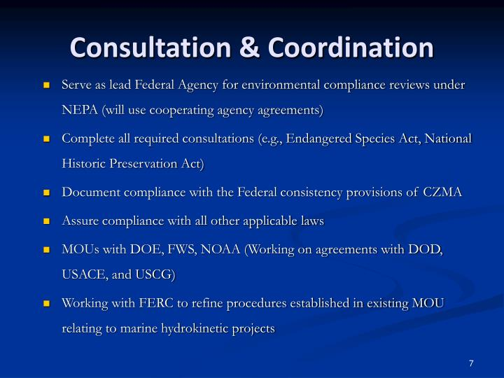 Consultation & Coordination