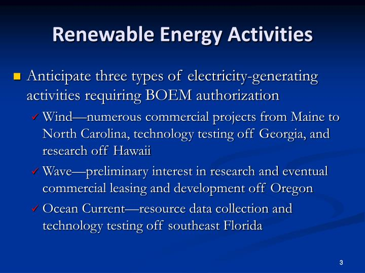 Renewable Energy Activities