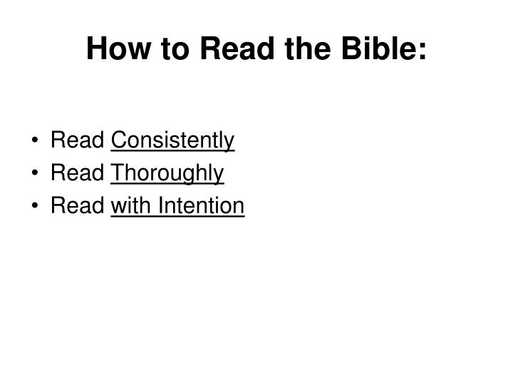 How to Read the Bible: