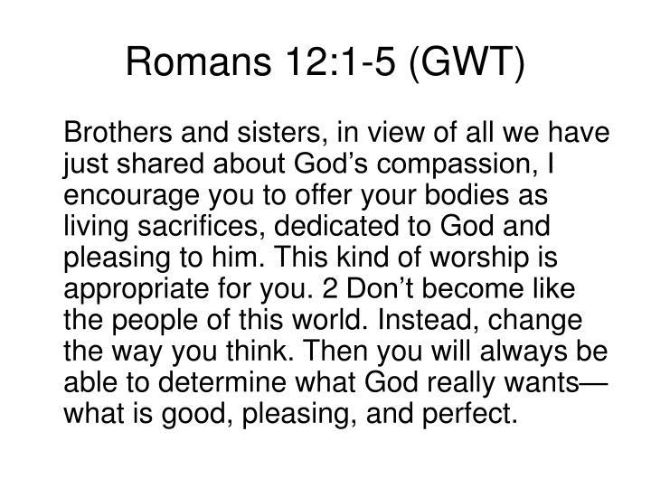 Romans 12:1-5 (GWT)