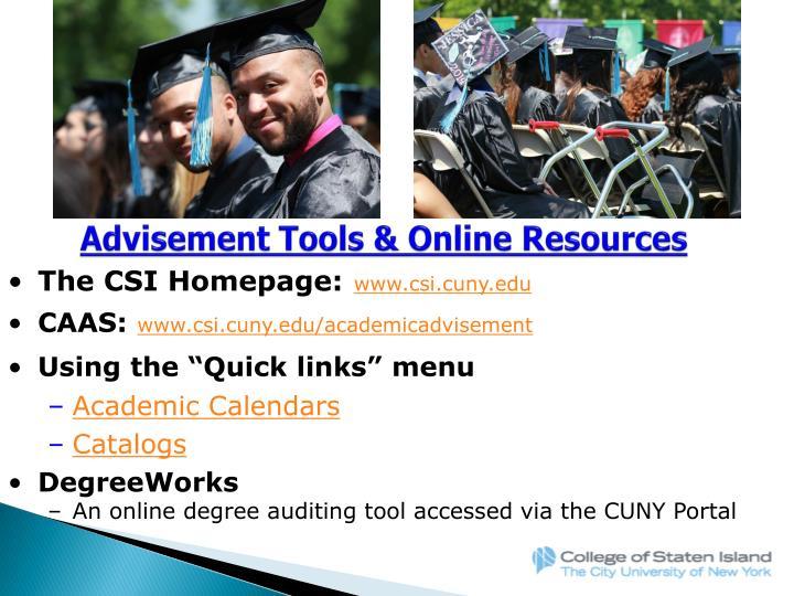 Advisement Tools & Online Resources