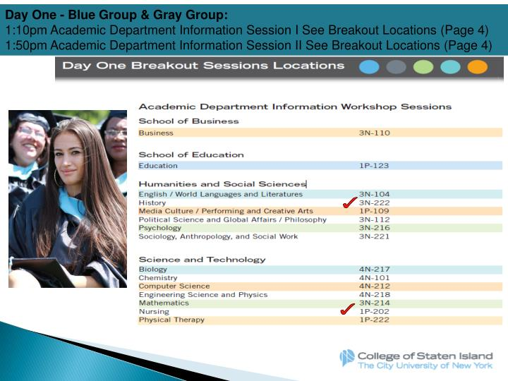 Day One - Blue Group & Gray Group: