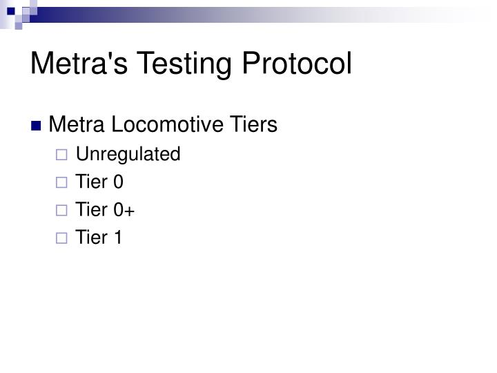 Metra's Testing Protocol