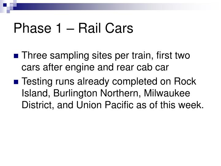 Phase 1 – Rail Cars