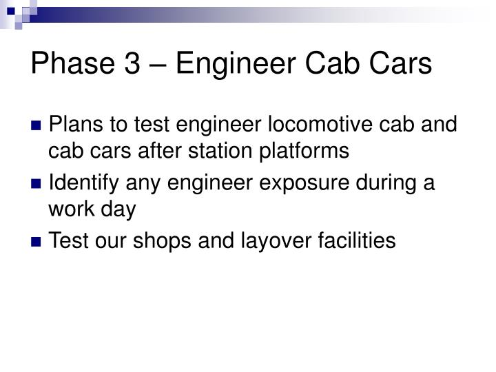 Phase 3 – Engineer Cab Cars