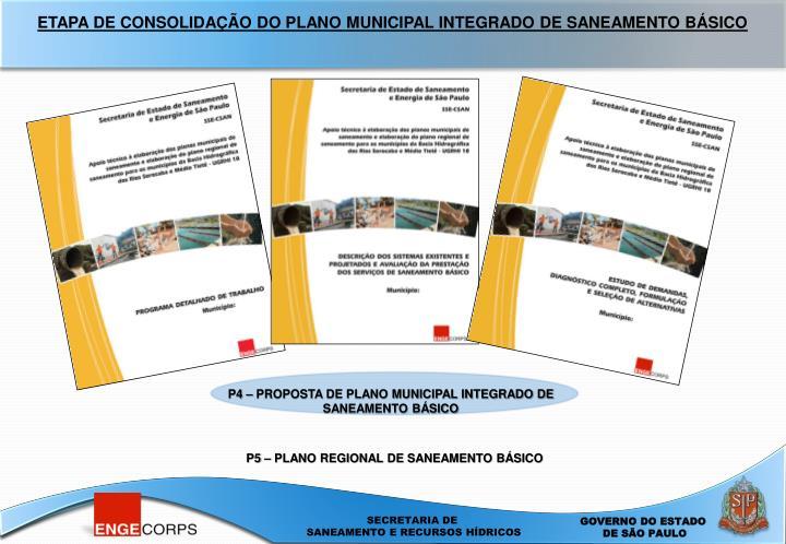 ETAPA DE CONSOLIDAÇÃO DO PLANO MUNICIPAL INTEGRADO DE SANEAMENTO BÁSICO