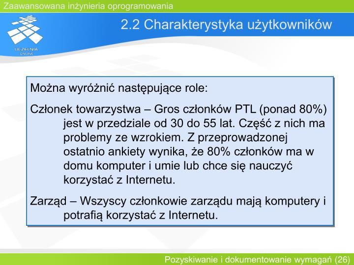 2.2 Charakterystyka użytkowników