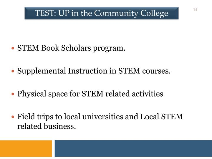 TEST: UP in the Community College