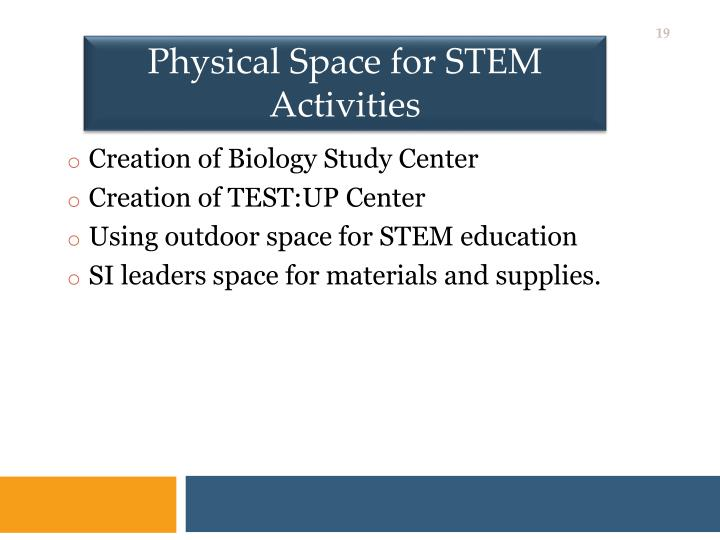Physical Space for STEM Activities
