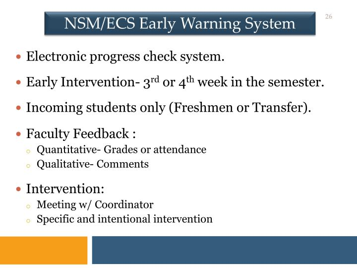 NSM/ECS Early Warning System