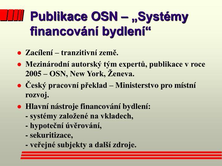 """Publikace OSN – """"Systémy financování bydlení"""""""