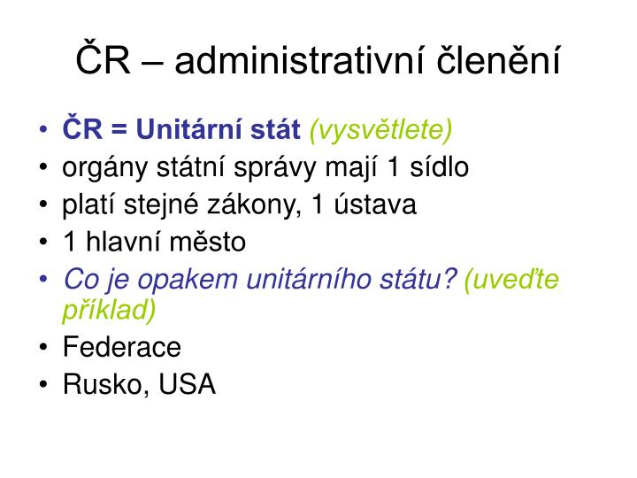 ČR – administrativní členění